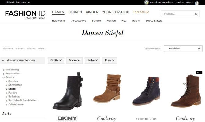 Die Kategorie Stiefel im Fashion-ID Online Shop